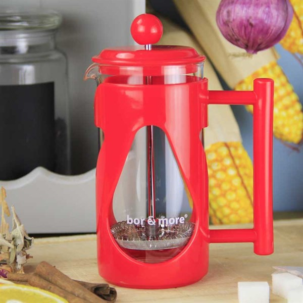 Borosilikat Cam Kırmızı French Press 350 ml - Bor& More