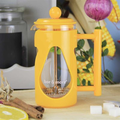 Borosilikat Cam Sarı French Press 350 ml