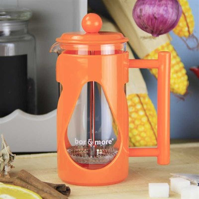 Borosilikat Cam Turuncu French Press 350 ml